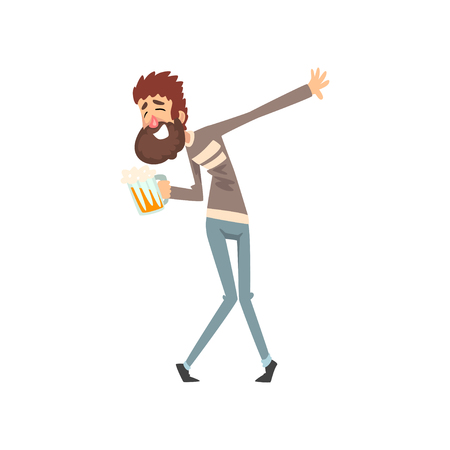 Drunk man with mug of beer in his hand, funny guy character drinking alcohol vector Illustration isolated on a white background.
