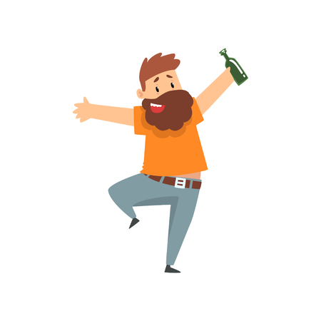Drunk bearded man with bottle of alcohol drink in his hand, funny guy character drinking alcohol vector Illustration isolated on a white background.