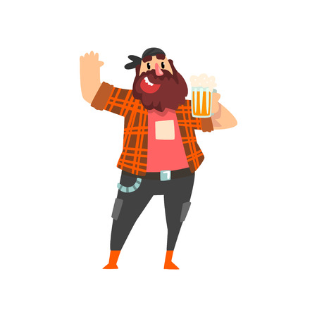 Brutal drunk man with mug of beer in his hand, male character drinking alcohol vector Illustration isolated on a white background. Illustration