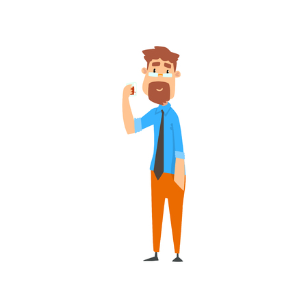Drunk businessman character drinking alcohol drink vector Illustration isolated on a white background. Illustration