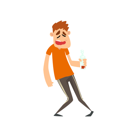 Drunk man with bottle of alcohol drink in his hand, male character drinking alcohol vector Illustration isolated on a white background.