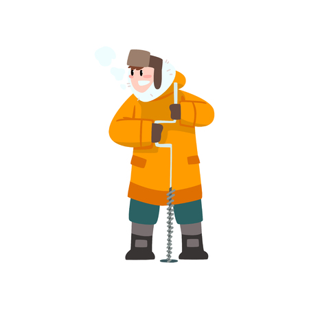 Warmly dressed man with ice drill, outdoor leisure, extremal ice winter fishing vector Illustration isolated on a white background.