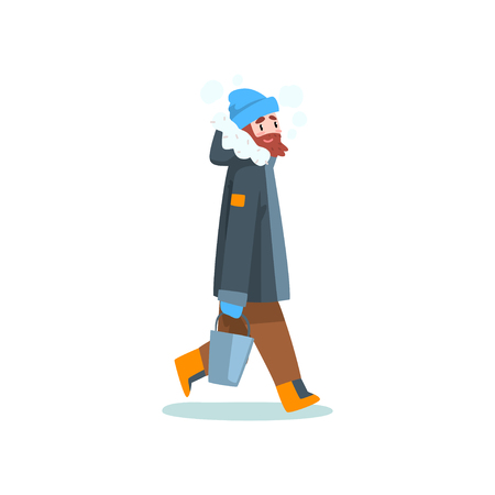 Warmly dressed man with bucket, outdoor leisure, extremal ice winter fishing vector Illustration isolated on a white background.