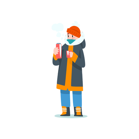 Young man drinking hot tea from bottle, outdoor leisure, extremal ice winter fishing vector Illustration