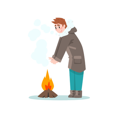 Man warming his hands by the fire, outdoor leisure, extremal ice winter fishing vector Illustration isolated on a white background.