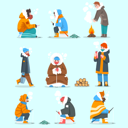 Warmly dressed men fishing in a frozen river or lake set, extremal ice winter fishing, outdoor activity vector Illustration, web design