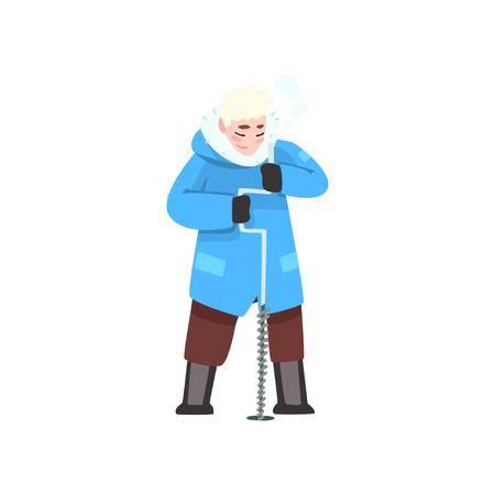 Man in winter clothes with ice drill, outdoor leisure, extremal ice winter fishing vector Illustration isolated on a white background.