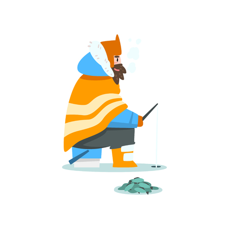Man fishing in a frozen river or lake, extremal ice winter fishing, outdoor activity vector Illustration isolated on a white background.