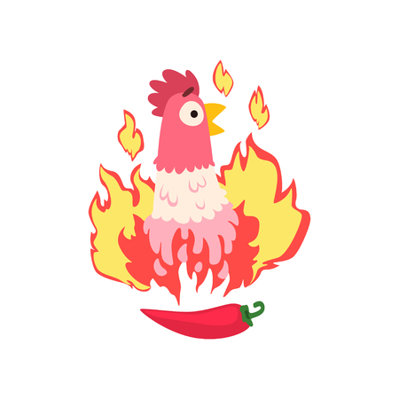 Hot spicy chicken, grilled fire chicken, creative design element vector Illustration