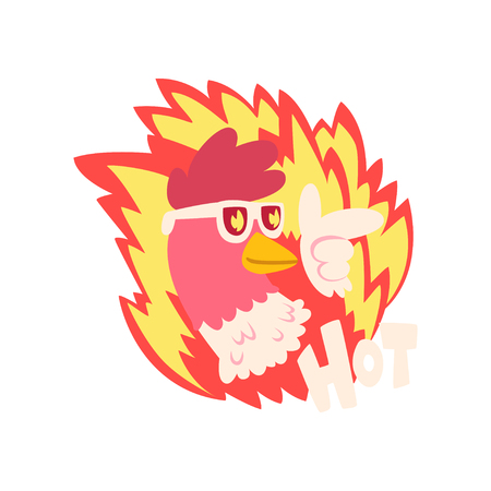 Hot spicy fire chicken wearing cool sunglasses, creative design element vector Illustration