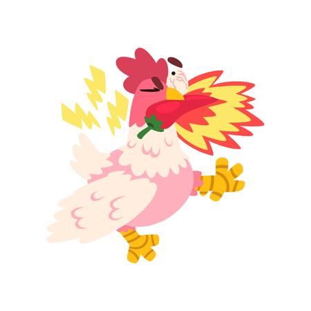 Hot spicy fire chicken, creative design element vector Illustration