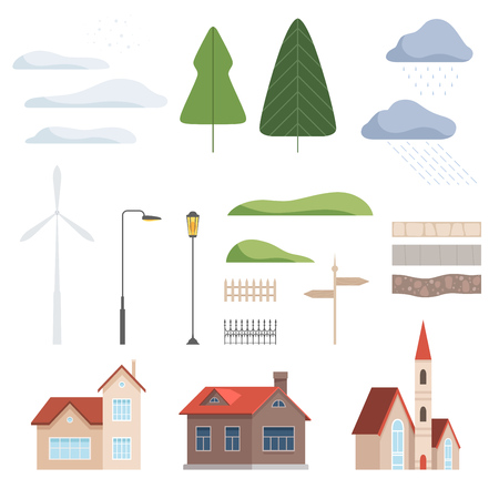 Collection of urban landscape constructor design elements vector Illustration isolated on a white background. 矢量图像