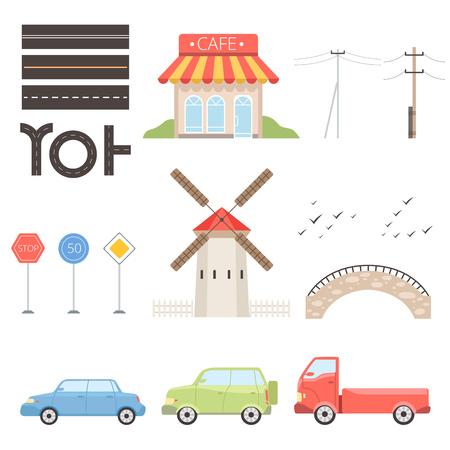 Collection of urban or rural landscape constructor design elements vector Illustration