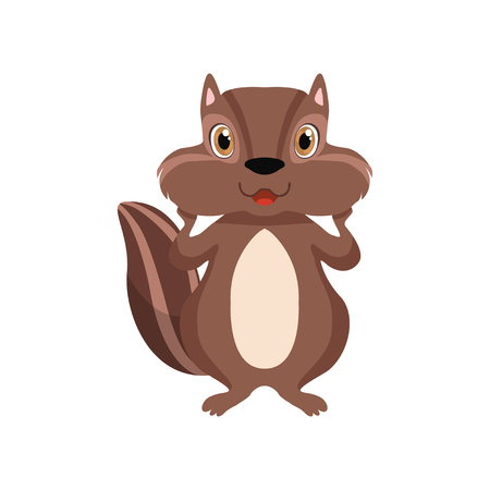 Cute chipmunk, lovely animal cartoon character front view vector Illustration isolated on a white background. Illustration