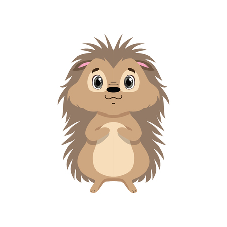 Cute hedgehog, lovely animal cartoon character front view vector Illustration isolated on a white background.