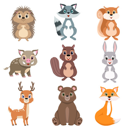 Cute forest animals and birds set, squirrel, hare, boar, raccoon, hedgehog, fox, bear, deer cartoon characters vector Illustration isolated on a white background.