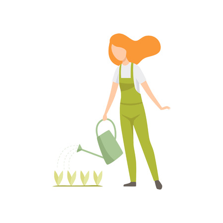 Girl watering seedlings with a watering can, people working in the garden, worker growing agricultural products vector Illustration isolated on a white background.