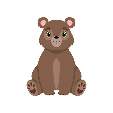 Cute little bear, lovely animal cartoon character front view vector Illustration isolated on a white background.
