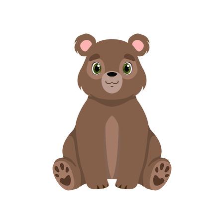 Mignon petit ours, vecteur de vue de face de personnage de dessin animé adorable animal Illustration isolé sur fond blanc.