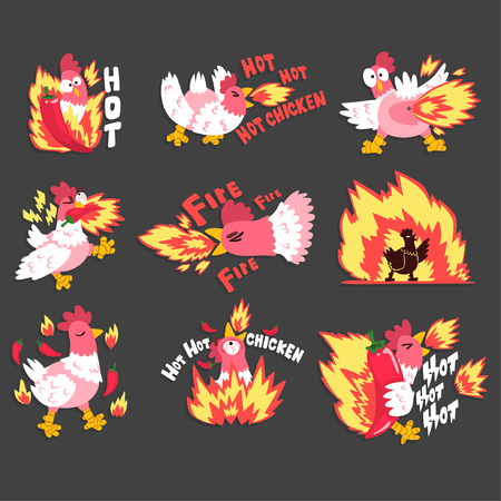Hot spicy chicken set, rooster on fire, creative design templates vector Illustration Illustration