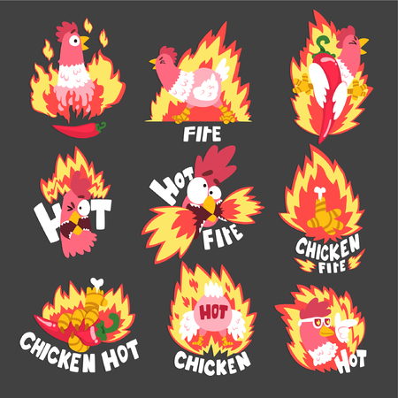 Hot spicy fire chicken set, creative design templates vector Illustration
