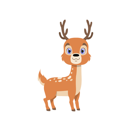 Cute baby deer, lovely animal cartoon character vector Illustration isolated on a white background.