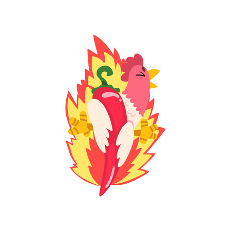 Hot spicy fire chicken, creative design template vector Illustration