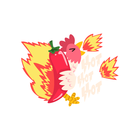 Hot fire chicken with red chilli pepper, creative  design template vector Illustration