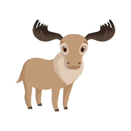 Cute deer animal cartoon character vector Illustration isolated on a white background. Çizim