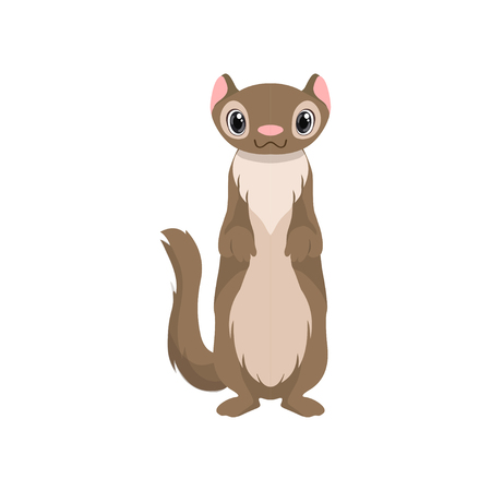 Cute otter animal cartoon character front view vector Illustration isolated on a white background. Illustration