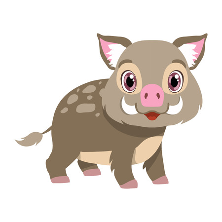 Cute boar, lovely animal cartoon character vector Illustration