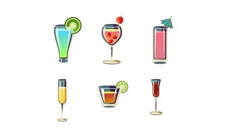 Collection of 6 different refreshing summer cocktails in glasses. Tasty alcoholic beverages. Graphic elements for restaurant menu or party poster. Cartoon vector icons isolated on white background