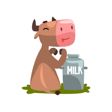 Funny brown cow with milk can, farm animal cartoon character vector Illustration isolated on a white background.
