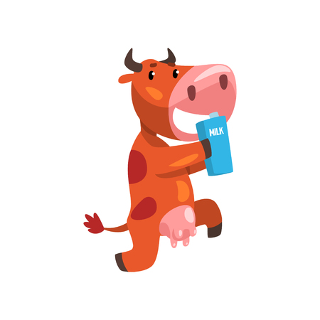 Funny brown cow with carton of milk, farm animal cartoon character, design element can be used for advertising, milk package, baby food vector Illustration isolated on a white background. 일러스트