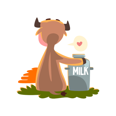 Funny brown cow sitting at sunset with a can of milk, farm animal cartoon character, design element can be used for advertising, milk package, baby food vector Illustration isolated on a white background.