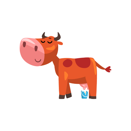 Funny brown milking cow, farm animal cartoon character, design element can be used for advertising, milk package, baby food vector Illustration isolated on a white background. Illustration