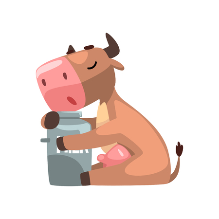 Funny brown cow hugging milk can, farm animal cartoon character, design element can be used for advertising, milk package, baby food vector Illustration isolated on a white background. Illustration