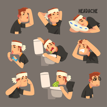 Sick man with a bandaged head, with a headache set, person suffering from headache, nausea, vomiting vector Illustration, cartoon style