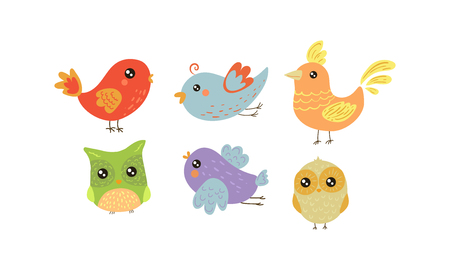 Set of 6 colorful little birds. Lovely creatures with small wings. Fauna theme. Graphic elements for greeting card or children book. Vector illustrations in flat style isolated on white background.