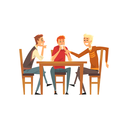 Male friends having a good time, group of men talking in a cafe, best friends concept vector Illustration isolated on a white background.