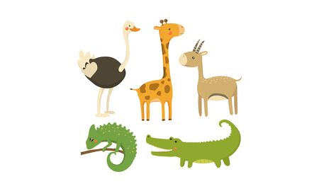 Collection of different African animals. Wild creatures. Cute cartoon characters. Colorful graphic elements for mobile game or children book. Vector icons in flat style isolated on white background.