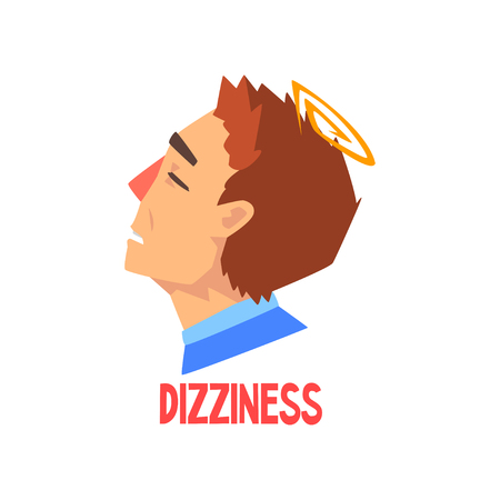 Man suffering from headache and dizziness, disease of the head, migraine, sick unhappy man character vector Illustration isolated on a white background. Çizim