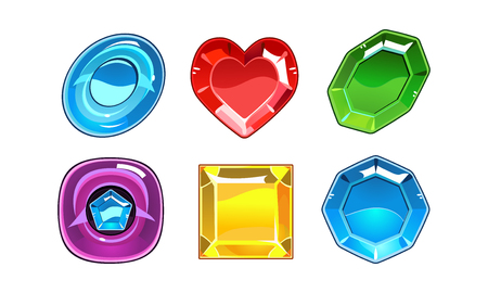 Collection of 6 glossy gemstones of different forms heart, oval and square. Valuable stones. Graphic elements for online mobile game. Cartoon vector illustrations isolated on white background. Ilustração