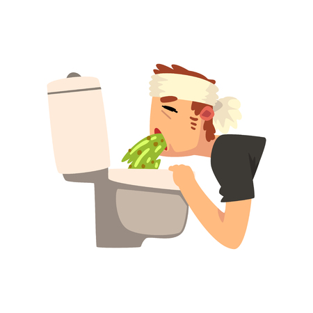Sick man vomiting into the toilet bowl vector Illustration isolated on a white background.