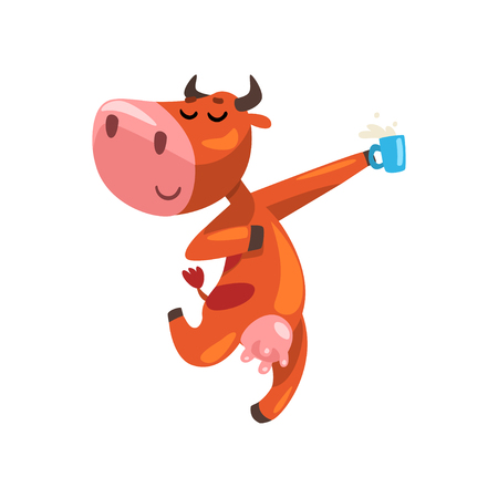 Funny brown cow with cup of milk having fun, farm animal cartoon character, design element can be used for advertising, milk package, baby food vector Illustration isolated on a white background.