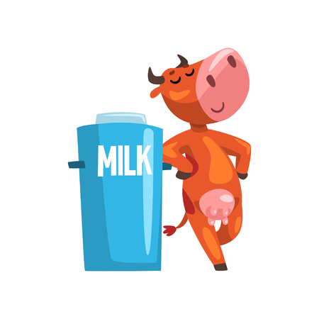 Funny cow with milk can, farm animal cartoon character, design element can be used for advertising, milk package, baby food vector Illustration isolated on a white background. Illustration
