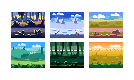 Collection of 6 different seamless backgrounds for computer and mobile game. Cartoon landscapes with green hills, wild forests and cloudy skies. Natural scenery. Colorful flat vector illustrations.