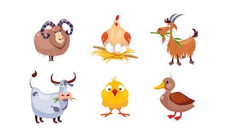 Niedliche Cartoon-Vieh-Set, Schafe, Henne, Ziege, Kuh, Ente, Vektor-Illustration isoliert auf weißem Hintergrund. Vektorgrafik