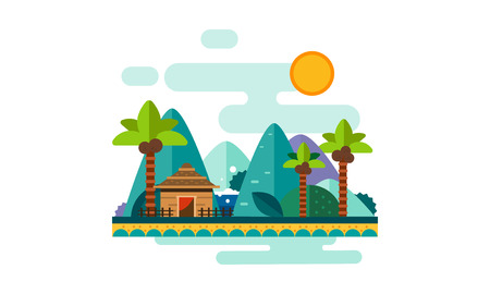 Beautiful tropical landscape, sand beach with palms, bungalow, mountains and sun vector Illustration, web design
