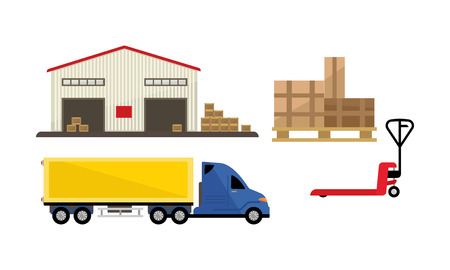 Logistic and transportation, warehouse, storage and cargo delivery vector Illustration isolated on a white background.  イラスト・ベクター素材